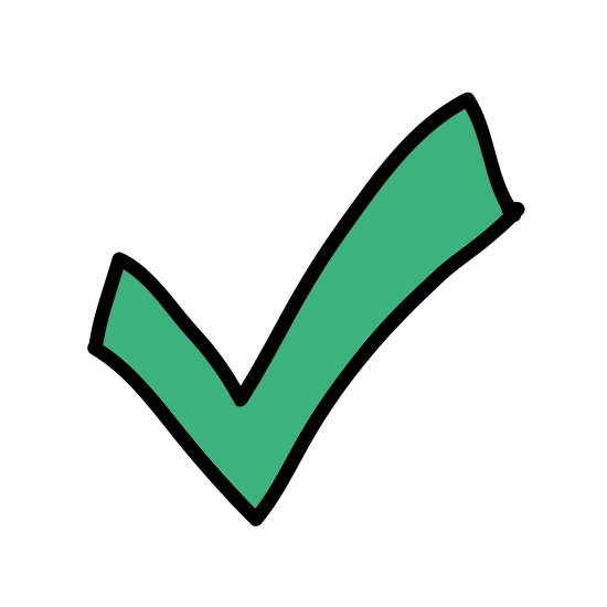 Checkmark icon. This is a very simple icon that looks just like a check mark. It is two lines of different lengths that come together to form a point. It's the same shape people use when they are checking the box on a questionnaire.