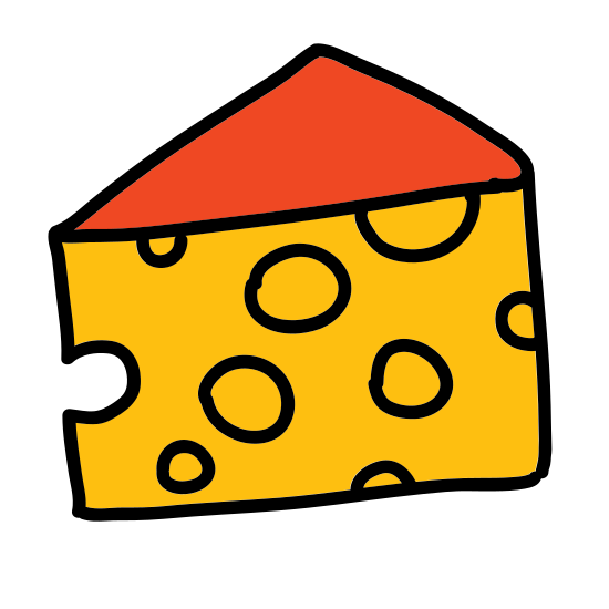 Cheese icon. This is a picture of a block of cheese. It appears to be swiss cheese, as it has many holes in it. There are 5 holes in total, and a small hole in front that almost looks like a bite has been taken out. It is just a single triangular shaped block.