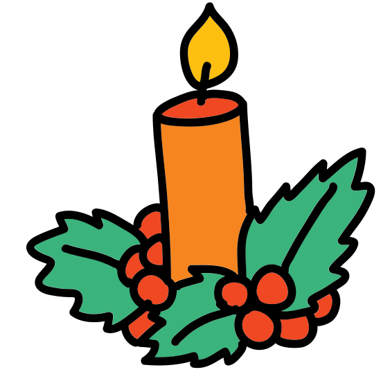 Świeca świąteczna icon. The icon is of a Christmas candle sitting in a small candle holder. It is white with black outlines. The candle is melting and has a very large flame, which is white with a black center.