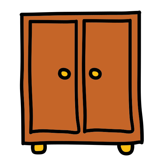 Closet icon. It is the image of an armoire.  It is a wardrobe or cabinet with two small drawers at the bottom.  At the top, and for the bulk of the height of the armoire, are two outward opening cabinet drawers.