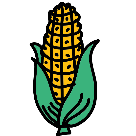 Corn icon. It's an icon in the shape of an ear of corn. The corn is half shucked and there are two leaves on either side of the ear of corn. The kernels are drawn in such a way that they form a grid.