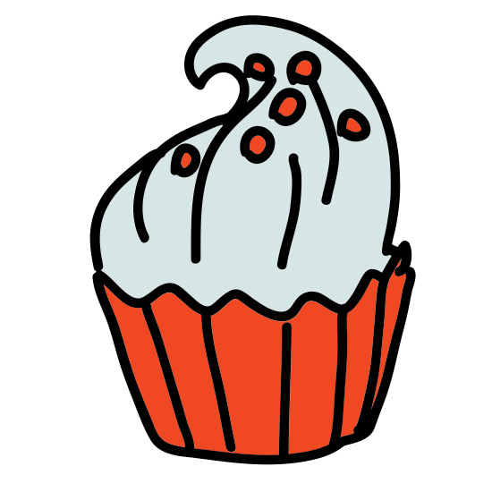 Cupcake icon. This icon represents a cupcake. It has a small straight bottom with a large rounded top. The top has small round sprinkles and is divided from the bottom. The bottom has three lines representing a holder.