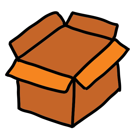 Puste pudełko icon. It is a 3-dimensional box. The box itself appears to be open and empty, as there are 2 flaps open (one each on the left and right), and you cannot see anything inside the box. There is a horizontal line on the front face of the box, near the top, which indicates a handle.