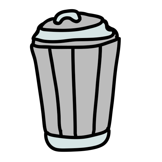 Empty Trash icon. A picture of a waste basket. The basket is shown being made of cris-crossing diagonal lines. The bottom is more narrow than the top and tapers outwards up to it.