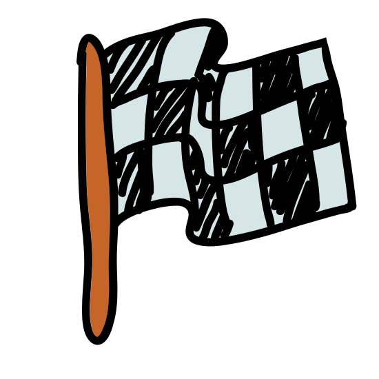 Finish Flag icon. This icon is made up of a rectangle filled with many small squares and lines. It looks just like a flag you might see in front of a government building. There is a thin rectangle that is meant to represent the flag pole.