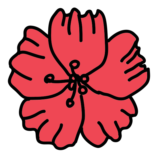 Flower icon. The icon is a five petaled flower, that looks very much like a cartoon rendition of a star. Each petal is of similar size and within the flower itself one can see a stamen that is made of five marks.