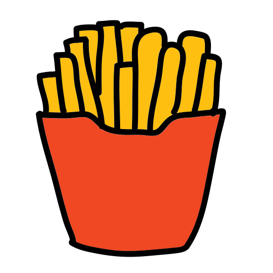 French Fries icon. A french fries icon is a container with an opening that fries are held in. The container will have to be open because the fries will have to be displayed, and the fries are represented with a couple little sticks or rectangles going out of the containers.