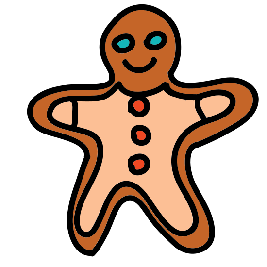 Gingerbread Man icon. Itsa man with an over sized head and arms stretched out. Its a gingerbread man from classic tales with gumdrops represented by black dots for buttons. icing for hands and feet and a smile on his face