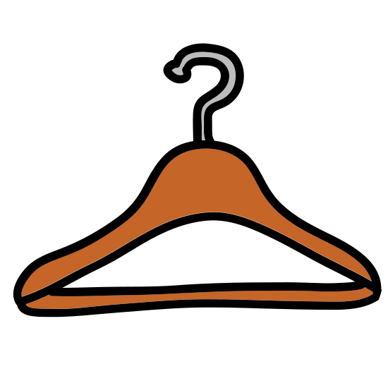 Hanger icon. The icon is depicting a standard clothes hanger. The main portion of the object is triangular in shape with rounded edges and a hook protruding from the topmost portion of the object. The hook is facing toward the left.