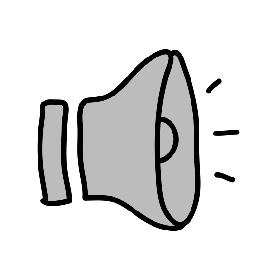 """Audio icon. This is an icon for showing high volume. There is a triangularly shaped speaker facing to the right with """"C"""" shaped sound waves coming out of it. There are three sound waves each getting bigger as they move away from the speaker."""