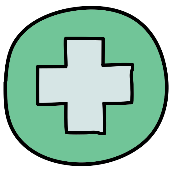 Szpital icon. The icon shows a box with a cross prominently shown in the center. This type of symbol is commonly used to represent a hospital, ambulance, or other health aid giving organization.