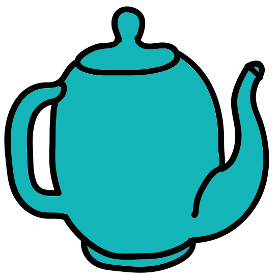 Kettle icon. The kettle icon looks like a large bowl with a narrow pointed cover. On the left is the spout that is in the shape of a backwards S. On the right is the handle.