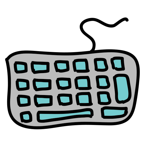 Keyboard icon. The icon is a keyboard with a simplified key layout, consisting of a rounded rectangle filled with a series of solid squares and rectangles, representing keys. It has a curvy wire leading out from the top.