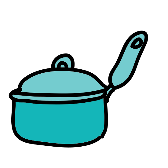 Kitchen icon. It is a kitchen pot and lid. The lid is raised off the pot with the right side slightly higher than the other. The pot has 2 small handles on either side of it.