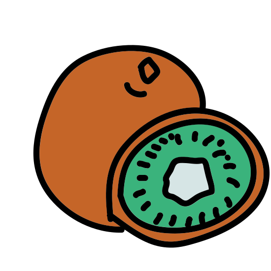 Kiwi icon. The object is an oval shape that is angled to the right with a slightly smaller oval inside it. Inside both ovals is an ovular ring of triangles with rounded bottoms. The object resembles the flat face of a slice of kiwi fruit.
