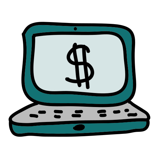 Laptop icon. The icon is the shape of a rectangle with another rectangle attached to the lower part of it. The icon has a keyboard and screen on it like a laptop.