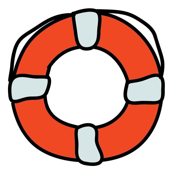 Lifebuoy icon. The Icon for Lifebuoy is a round circular ring. There are four rectangular pieces on top of the ring, evenly spaced at the top and bottom and left and right. The ring is on top of an object with rounded corners that make half circles between each rectangular piece.