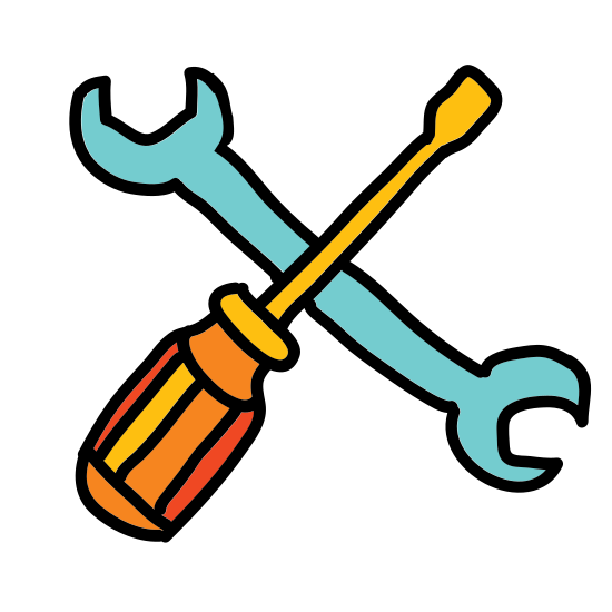 Konserwacja icon. In this icon is a wrench and a screwdriver. The screwdriver is laid atop of the wrench in a criss-cross manner to convey the idea of maintenance.