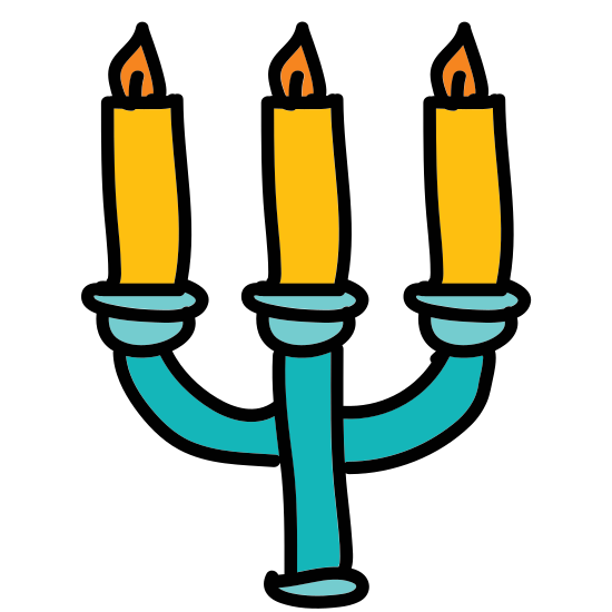 Menorah icon. It is a icon of a menorah. It has a semicircle at the bottom for a stand with a vertical line coming out. There are three curved lines that point upwards and each have a small flame on each of their ends.
