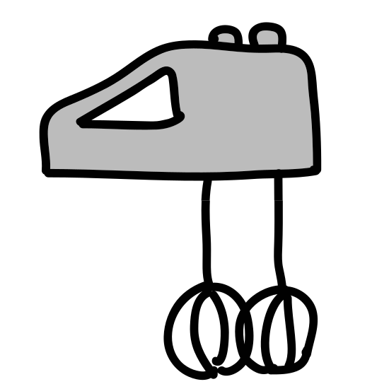 Mikser icon. This is a picture of a hand mixer from the side. You can see one of the mixing arms and it has two small sides to it. There is a small button at the very top of the mixer. You can see a handle through the side of it.