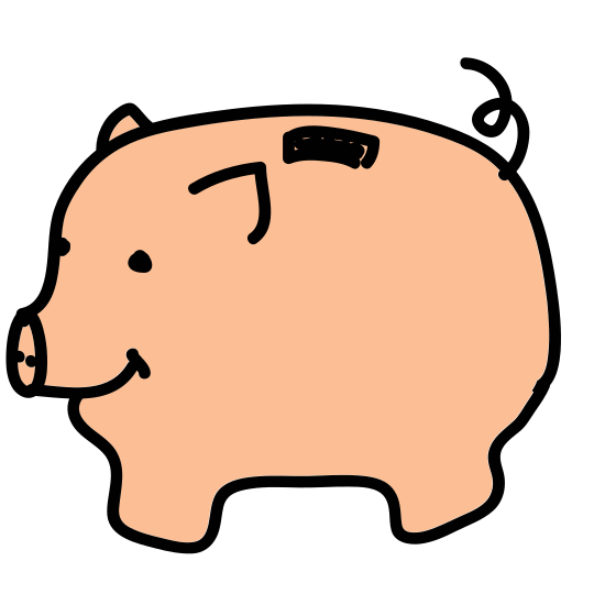 Money Box icon. The money box, a euphemism for piggy bank. A cute little pig, probably full of children's change, viewed from the side. The only remarkable thing about it is the handle for weight on the pig's back.