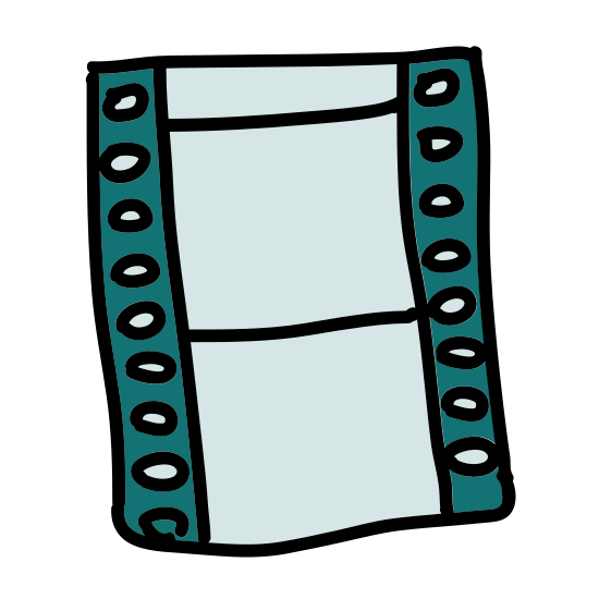 Movie icon. A cut of a film reel, the universal icon for movie. Two film shots vertically of each other, with the incremented taping on the sides. There appears to be nothing on the film.