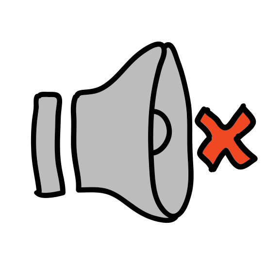 "Mute icon. It is a classic mute icon. There is a basic speaker with the letter ""x"", or what could be a cross icon to the right of it. You can clearly see the back and front of the speaker. You would not think sound is coming out of this speaker."