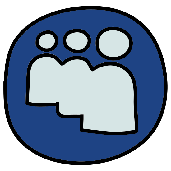 Myspace App icon. Its the logo of Myspace consisting of 3 bodies with heads, no arms, and no faces. The logo is surrounded by a square, with nothing else in it except for the bodies and heads.