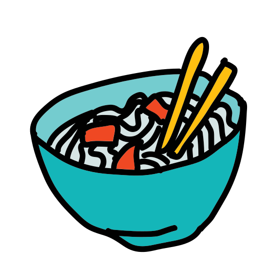 Noodles icon. This icon represents noodles. At the bottom of the icon is a half circle representing a bowl. It has two lines at the top representing chop sticks. The chop sticks have lines on the left side with one leading to the bowl representing the noodles.