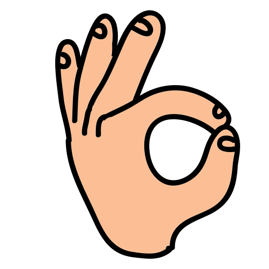 """Ok Hand icon. This is a picture of a right hand giving the """"okay"""" symbol with it's thumb and index finger. the other three fingers are sticking up but curved. the index finger and thumb are forming a circle"""