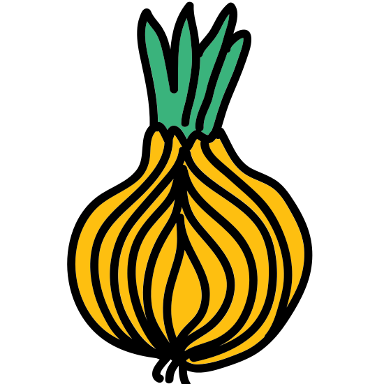 Onion icon. This is an icon for an onion. The onion has layers and layers that is revealed. There appears to be five layers on the onion and on the outside of the onion there appears to be the root of the onion.