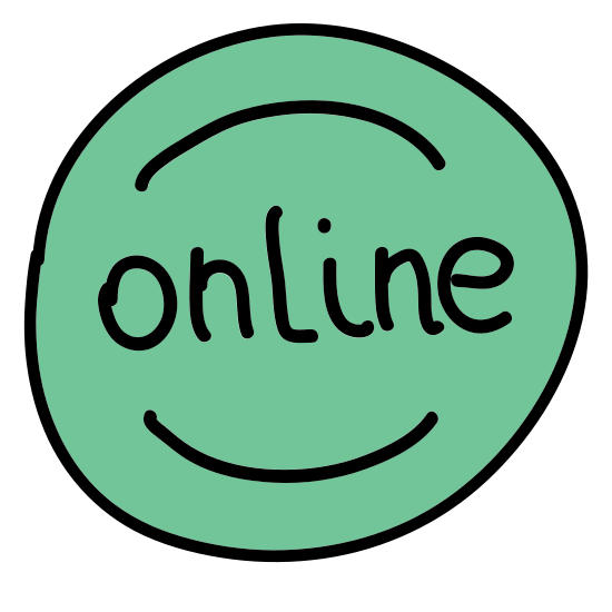 Online icon. There is a small circle in the center and on either side of the small circle there are parenthesis or small curved lines. There is one set of small curved lines closest to the circle and another set of longer curved lines next to those.