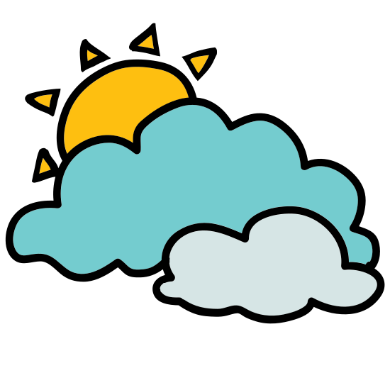 Partly Cloudy Day icon. This is a picture of a cloud with a sun coming out from behind it. The sun has five rays which you can see, the others hidden behind the cloud. It's trying to show you what the weather is like.