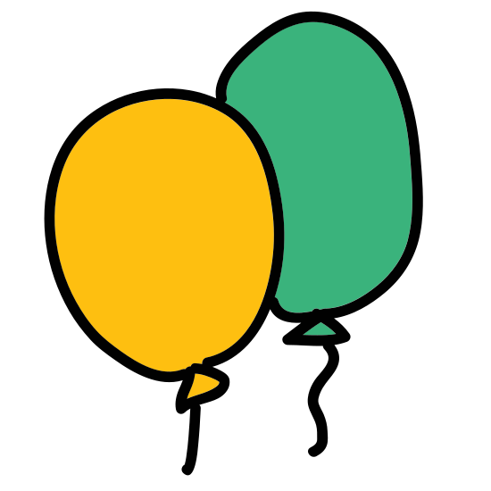 Party Balloons icon. The icon is made up of three balloon-shaped circles. There is a foremost balloon, and one slightly higher and to the right behind it, and another slightly lower and to the left behind as well. The three balloons have lines indicating strings, tied to a single point at the bottom of the icon.