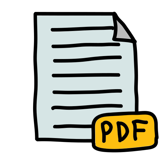 """PDF 2 icon. This is a picture of paper or note with the top right hand corner folded inwards on top of the paper. in the center are the capital letters """"PDF"""". it's representing a file of some sort"""