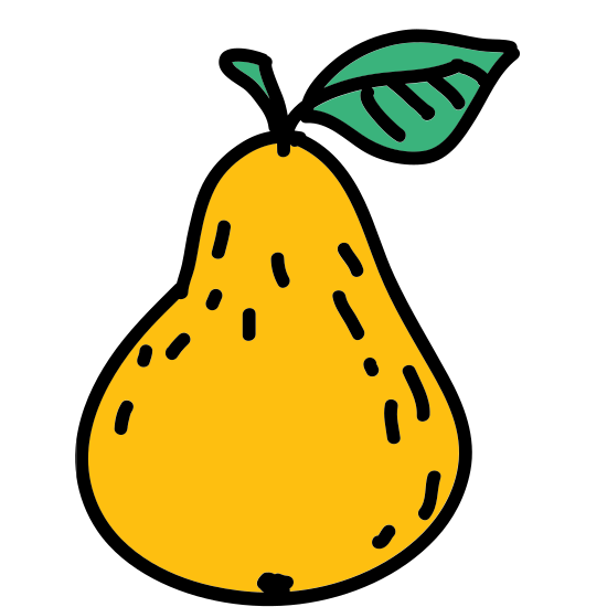 Pear icon. The icon is shaped like an oval but the bottom half is larger than the top half of it. At the top of the icon is a stem shaped line and a leaf shape at the right of it.