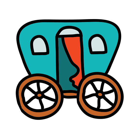 Pionier Wagen icon. This icon represents a wagon. It includes two wheels with a top that looks rounded. The wheels have spokes. It is from the side view with the top different from the bottom.