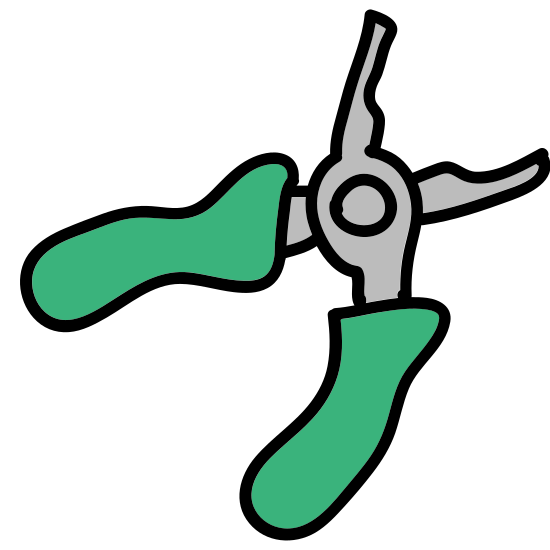 Pliers icon. This is a simple icon representing a pair of pliers. It has a scissor grip, that is slightly flayed at the ends for more grip. The end of the pliers are blunt, showing that it can be used to both grip and turn with a larger opening in the middle.
