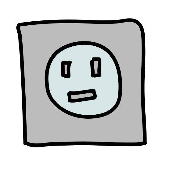 Socket icon. This is an image of a square. Inside of the square is a North American plug outlet. The plug outlet is composed of two vertical lines side by side, and below them is a capital D shape that sits on its side.