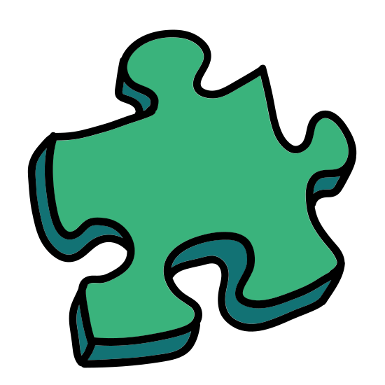 Zagadka icon. This is a corner puzzle piece -one that would go in the southeast corner of a puzzle. The shape is roughly square. There is a protruding nub on the top. On the left is a space where the protrusion from another piece would fit.