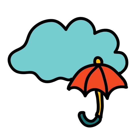 Rain icon. This is a drawing of a rain cloud that is flat on the bottom with three curvy lines coming up the sides and on the top. There are three dashed lines coming out the bottom of the cloud. There are two little dashes in each line.