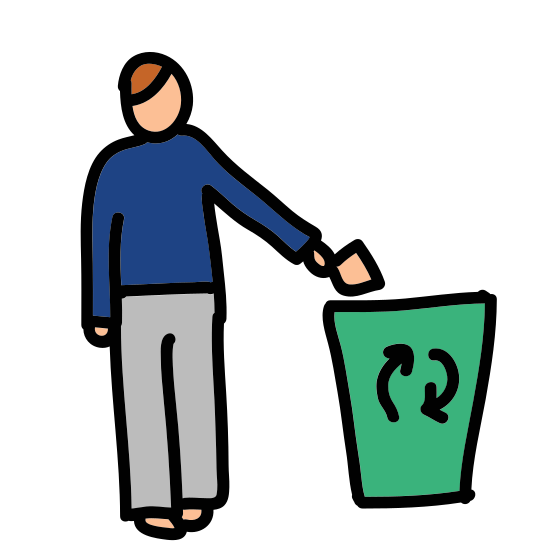 Recycle icon. There are three arrows arranged in a triangle shape. Each of these arrows is pointing to the bottom side of another. The inside space of the image creates a star shape.