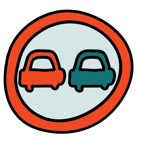Road Sign No Overtaking icon