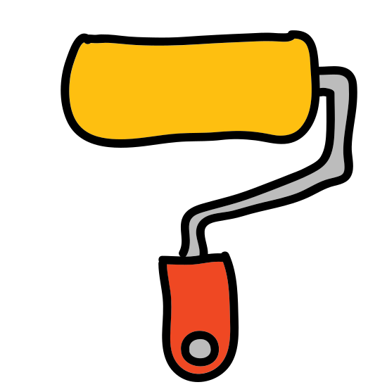 Pędzel Wałek icon. The roller brush is a rectangle connected to a handle. The bottom of the handle is a smaller rectangle, and a line connects the smaller rectangle to the larger rectangle.