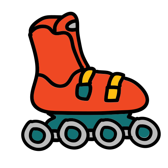 Rollerblade icon. These are rollerblades. It is a shoe with very small wheels attached to it at the bottom of the shoe.