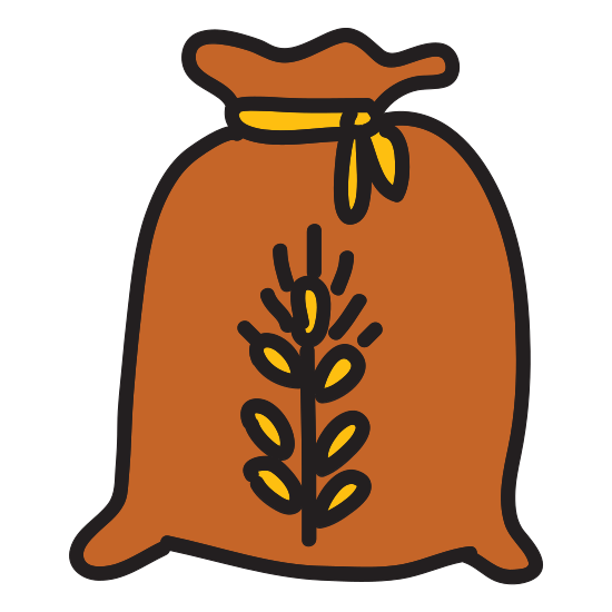 Flour icon. It is a drawing of a bag or sack containing a powder. In this case the it is flour. The sack looks to be sitting on a surface with the top of the bag open to show its contents.