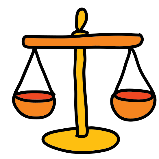 Scales icon. It's a drawing of the scales of justice.  Its a drawing of an old mechanical scale with one side of the scale lower than the other to indicate that a weight has been placed on that side.