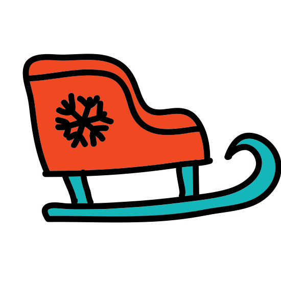 Sleigh icon. This is very reminiscent of Santa's sleigh. It is a side view, with a large seating area and an empty door frame to enter or exit the sleigh. The front end of the seating area is curved. It is resting on a runner, which is also curved upwards at the front of the sleigh.