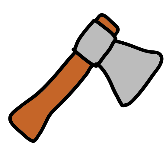 Small Axe icon. The logo is very simple. It's just what looks to be a drawing of a small axe. The handle of the axe is not straight, its squiggly, the way it would look if someone had hand drawn it.