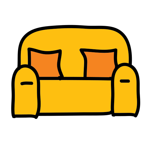 Kanapa icon. It is an icon of a sofa. The sofa looks like it is comfortable with a large cushion, and it has armrests on each side. It has two legs beneath it that it rests on the floor on.